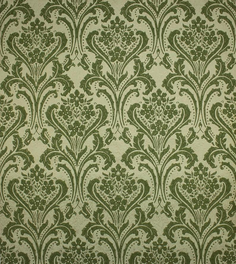 1960s Vintage Wallpaper Green Damask On Gold Green Textured By Etsy In 2020 Vintage Wallpaper 1960s Vintage Green Texture