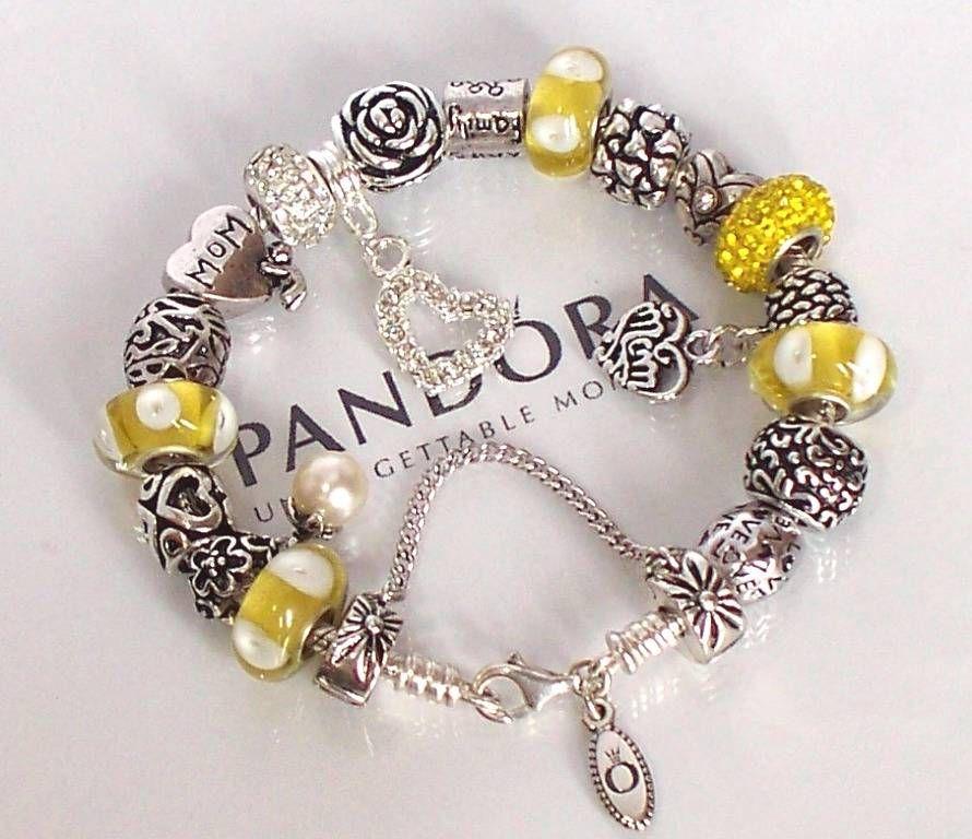 pandora silver charm bracelet ebay