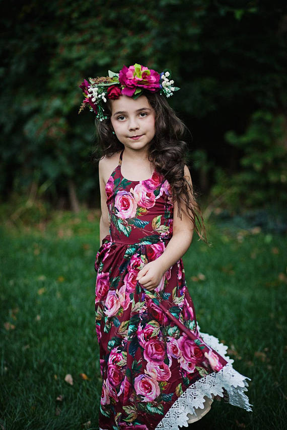 fdbf92a1c596 Girls Burgundy Floral Maxi Dress, Girls Boho Rose Maxi Dress, Fall Dress, Toddler  Dress, Vintage Flo