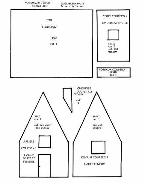 Gabarit maison en pain du0027épices gâteau 3d Pinterest Pain du0027epices - dessiner une maison en 3d