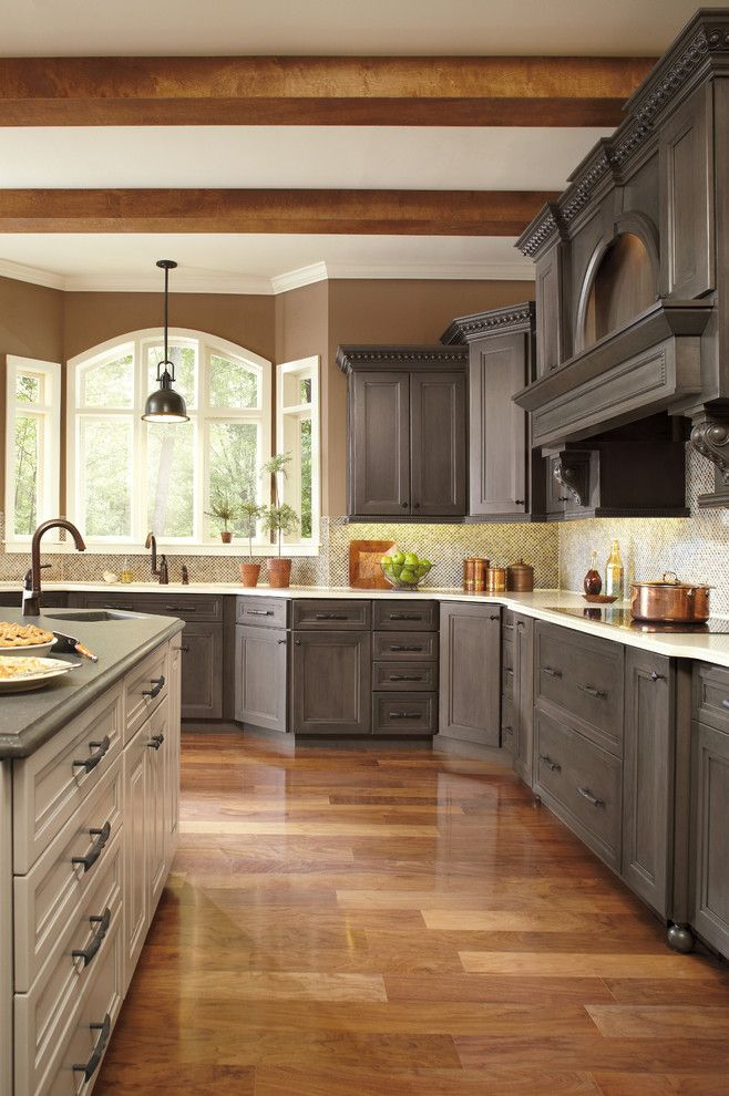Conestoga cabinets traditional kitchen colour schemes for Grey and brown kitchen