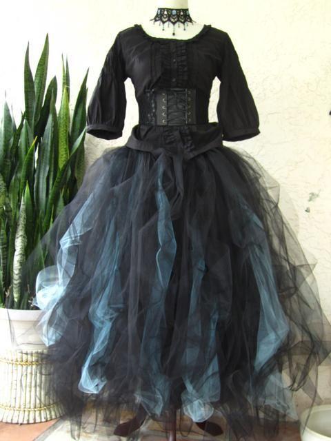68f4936148 Details about tutu skirt wedding black grey tulle goth gypsy ...