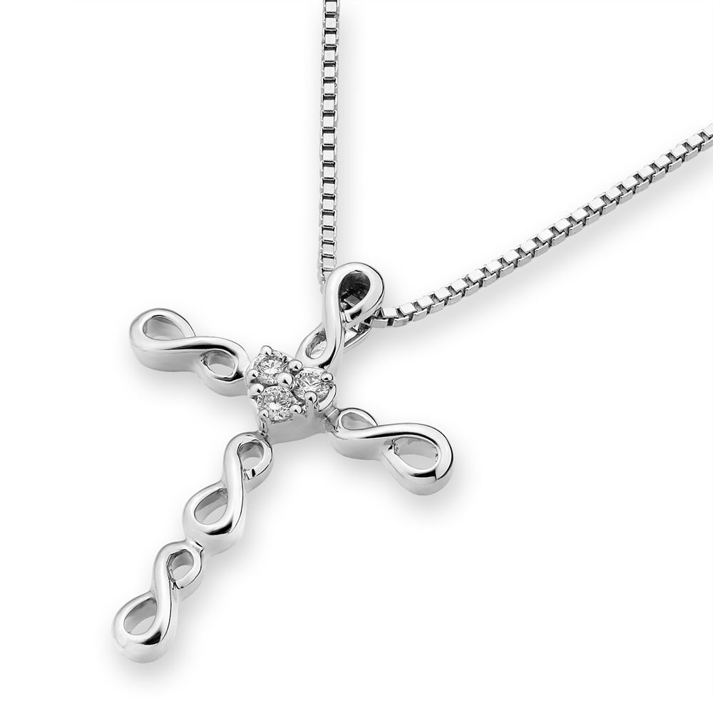 Diviner Series 18K White Gold Diamond Pendant Sterling Silver Cross Necklace #Unbranded #Pendant