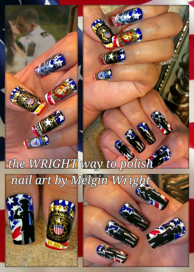 Veterans Day/ U.S Military nail art. US Navy, US Air Force