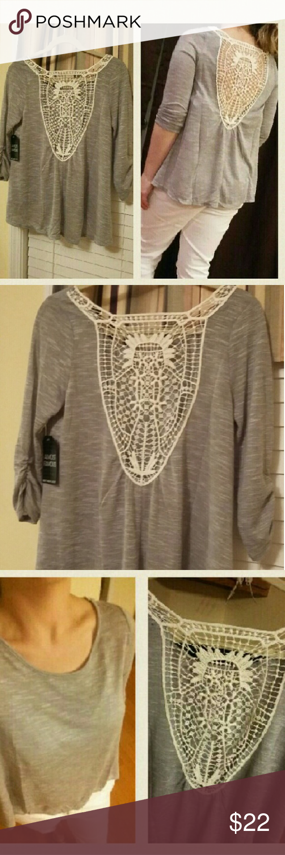 ba809ece4d5 Crochet back short. Has 3 4 length sleeves gathered on one side. Gray with cream  crochet back. Can see through short slightly. It is a thin shirt. Tops