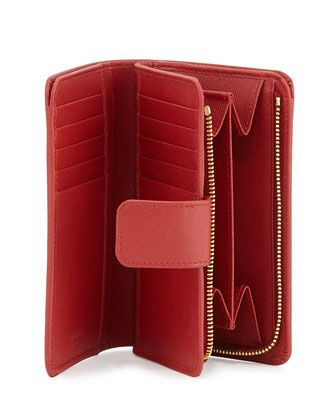 e7af994428b2 Saffiano Triangle Bi-Fold Tab Wallet Red (Fuoco) | Gifts | Wallet ...