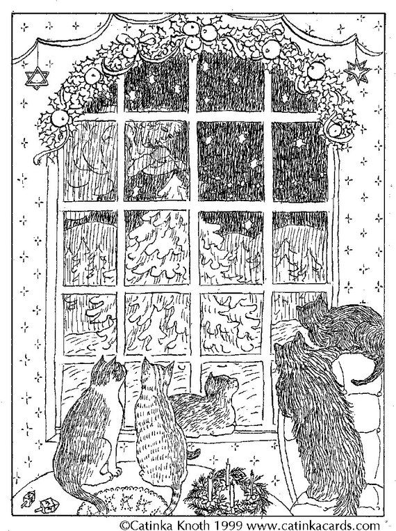 Cat Christmas Card Xmas Coloring Notecard Night Window Pen