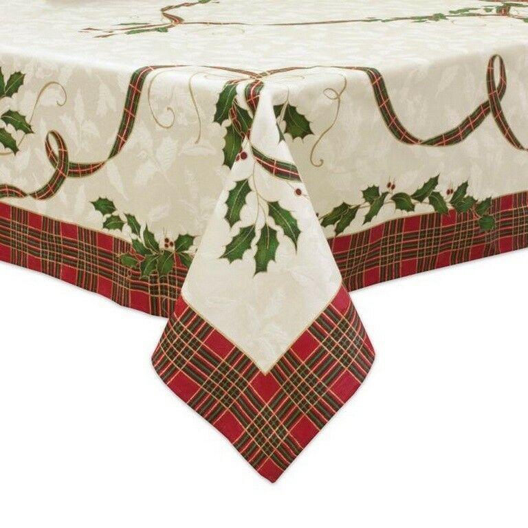 Lenox Damask Tablecloth Christmas Holiday Melody Tartan Holly
