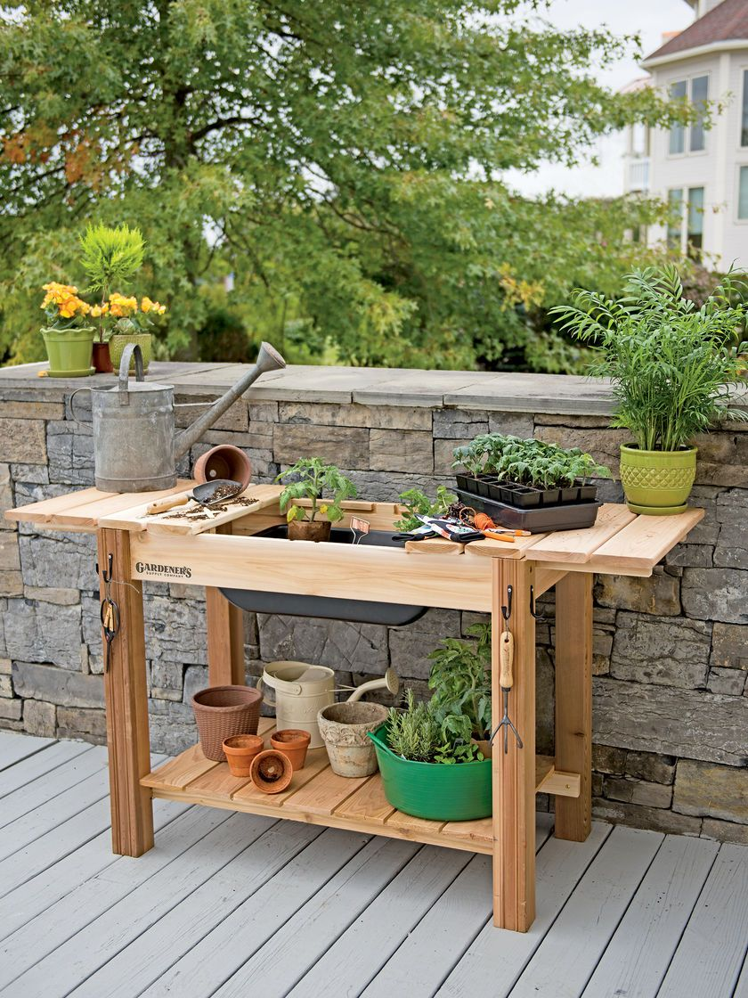 Miraculous Potting Bench Cedar Potting Table With Soil Sink Gmtry Best Dining Table And Chair Ideas Images Gmtryco