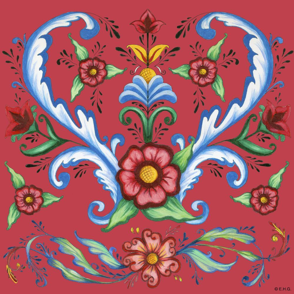 Red Rosemaling Ceramic Deluxe Wall Tile Flower wall