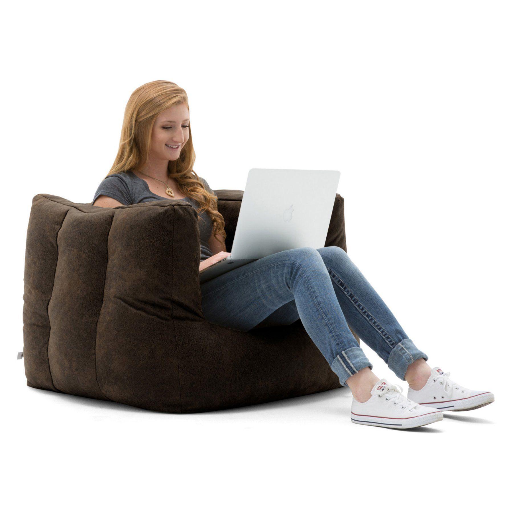 Astounding Lux By Big Joe Cube Blazer Leather Bean Bag 669405 Evergreenethics Interior Chair Design Evergreenethicsorg