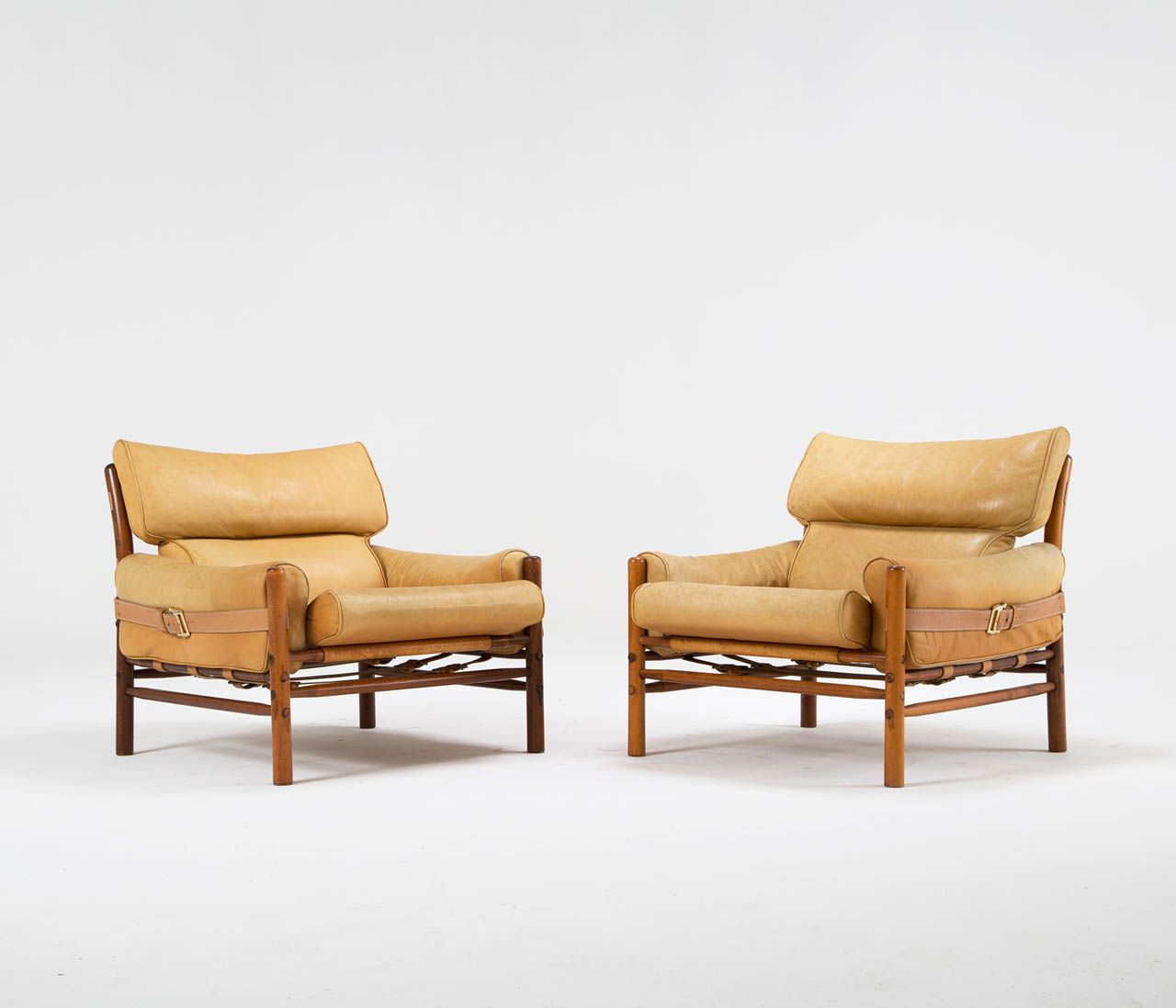 Rare Set Of 2 Arne Norell U0027Kontikiu0027 Easy Chairs In Teak