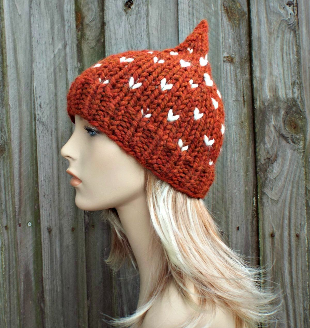 4456a29eac6 Burnt Orange Gnome Hat - Orange Knit Hat Orange Womens Hat Orange Beanie  Orange Hat - Orange Winter Hat - READY TO SHIP by pixiebell on Etsy