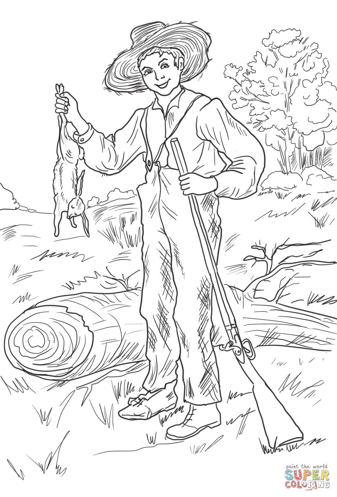 Huckleberry Finn With Rabbit Super Coloring Huckleberry Finn Coloring Pages American History Lessons