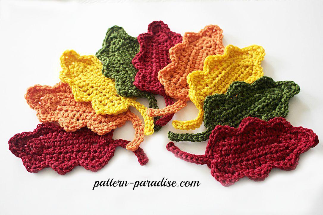 Free Crochet Pattern: Fall Oak Leaves   crochet flowers, plants and ...