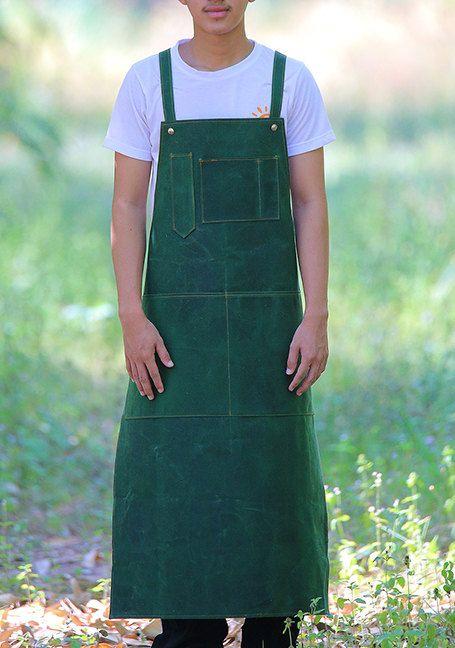 SALE  Waxed canvas + Apron  + Cross-back + Y-Strap +  gardener  + barista + Handmade  + dark green