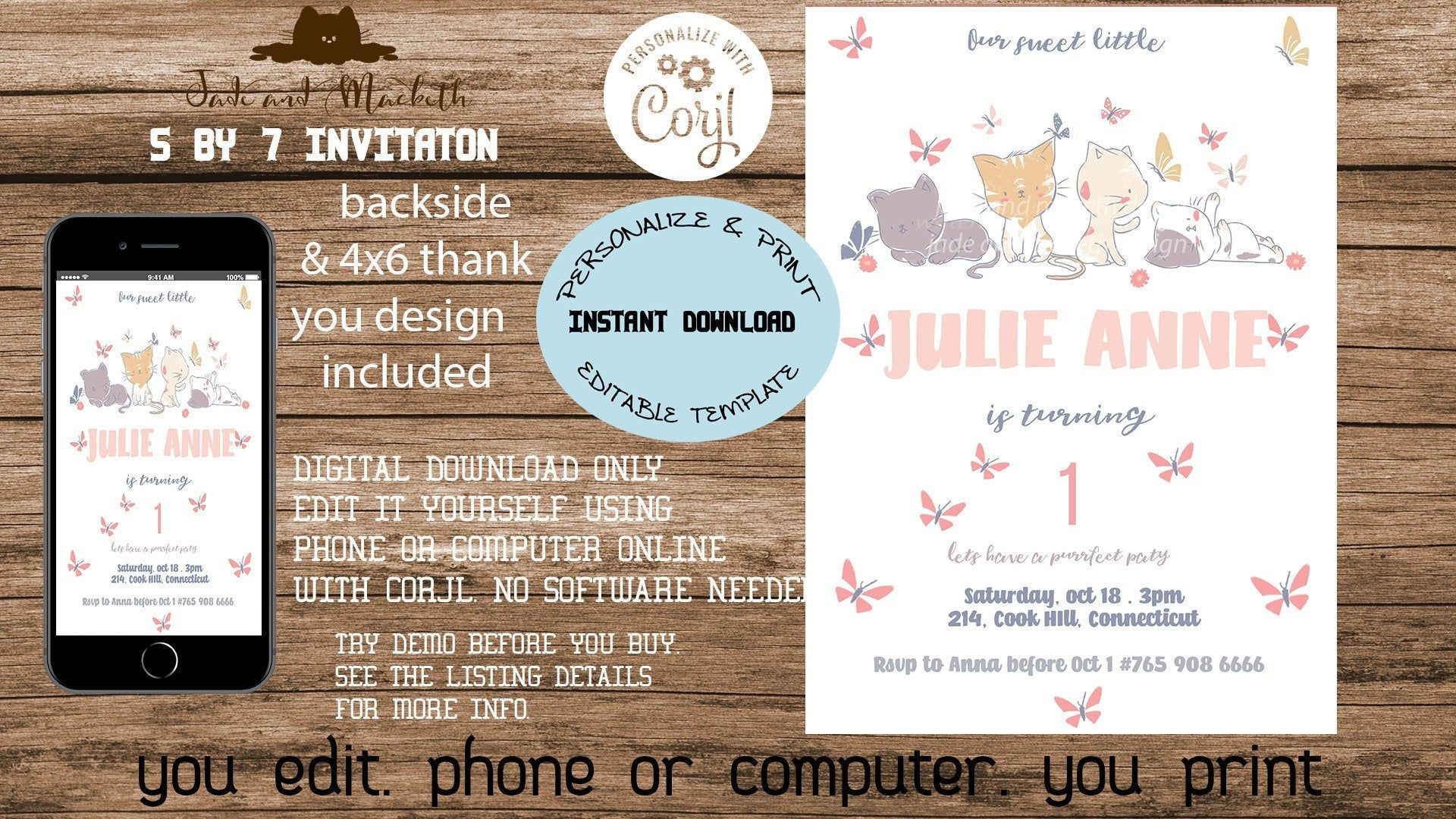 Editable cat and butterfly invitation, kitten invitation