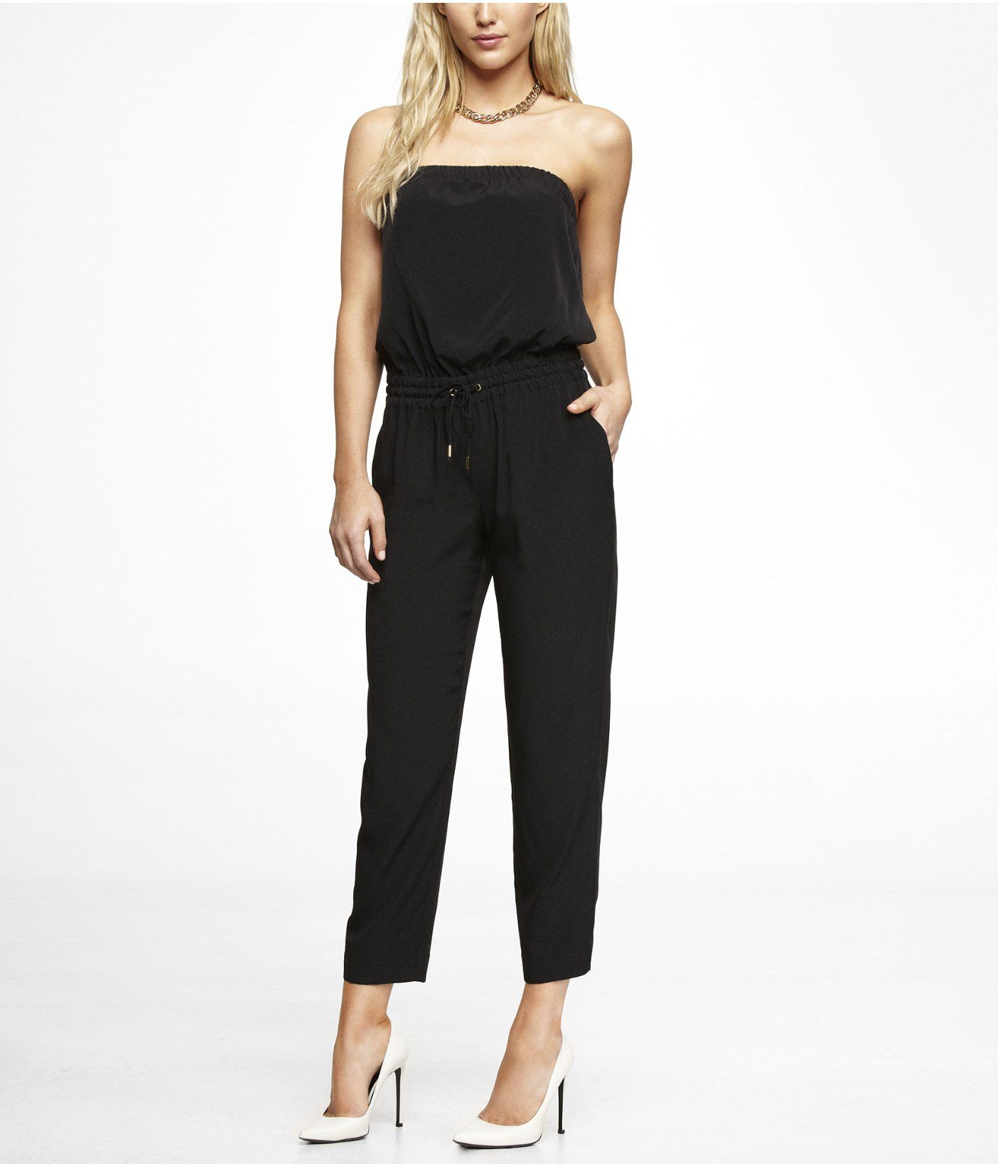 a94470a15862 View All Dresses. STRAPLESS TRACK PANT JUMPSUIT