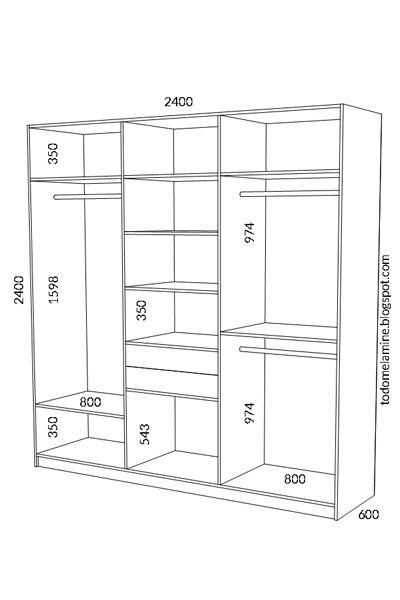 Planos para construir mueble ropero guardarropa de melamina