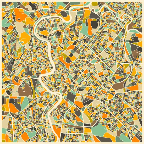 iCanvasART Abstract City Map of Dublin Canvas Print 37 x 37