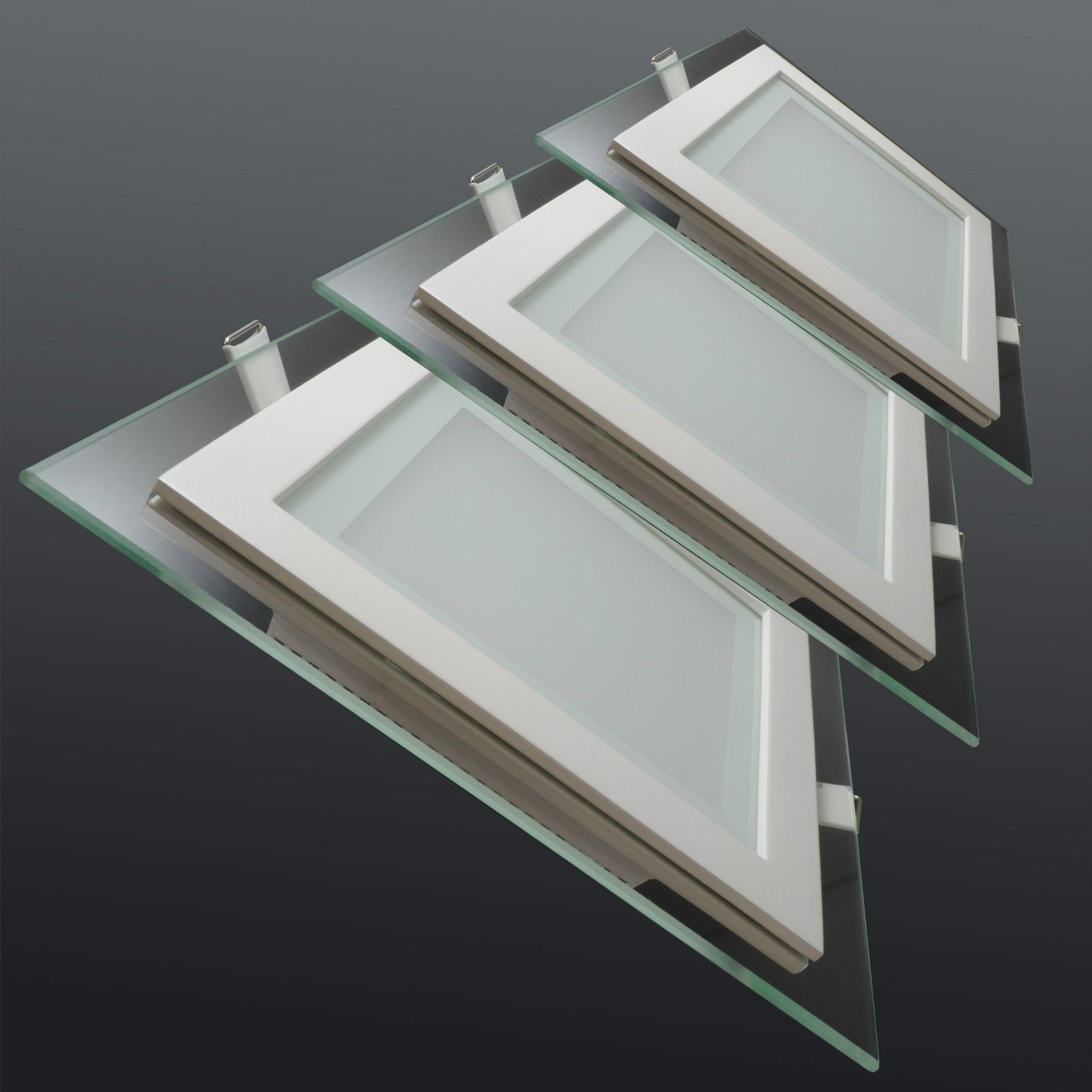 Led Glas Panel Einbaustrahler Deckenleuchte Leuchte Einbau Flach Rund Eckig Ebay Led Glas Einbaustrahler Led