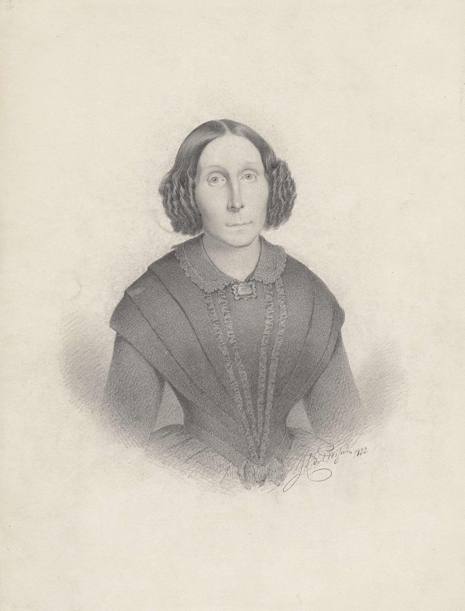 Jan Cornelis van Rossum | Portret van een vrouw, van voren, Jan Cornelis van Rossum, 1853 |
