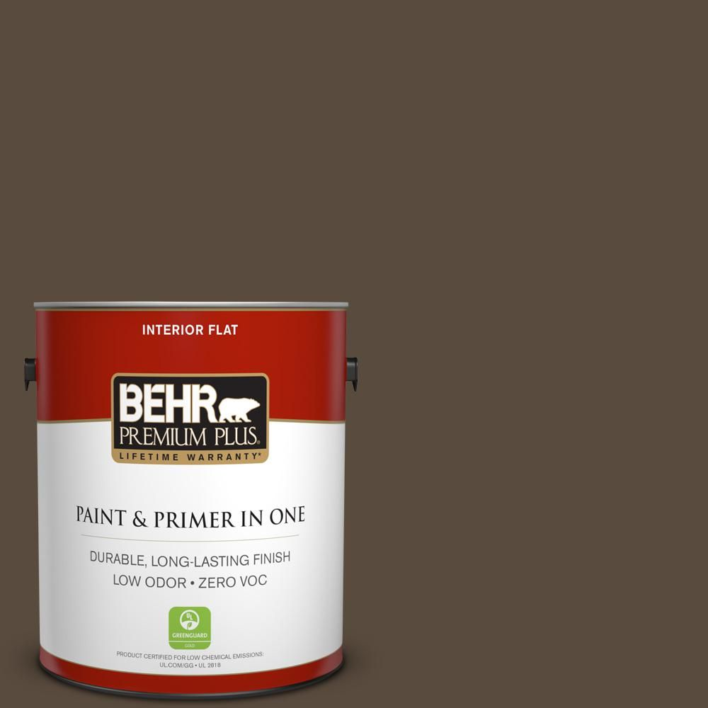 BEHR Premium Plus 1 gal. #hdc-FL15-05 Warm Pumpernickel Zero VOC Flat Interior Paint