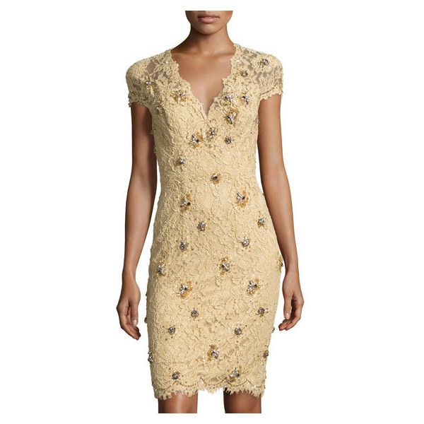 Mandalay V-Neck Embellished Lace Dress, Champagne (60,550 INR) ❤ liked on Polyvore featuring dresses