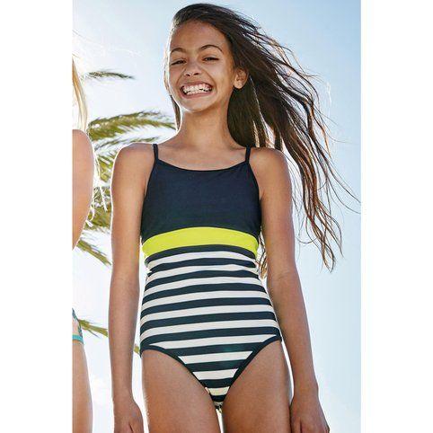 9d84807500 Maillot de bain à rayures (3 à 16 ans) fille Next - Bleu- Vue 1 ...