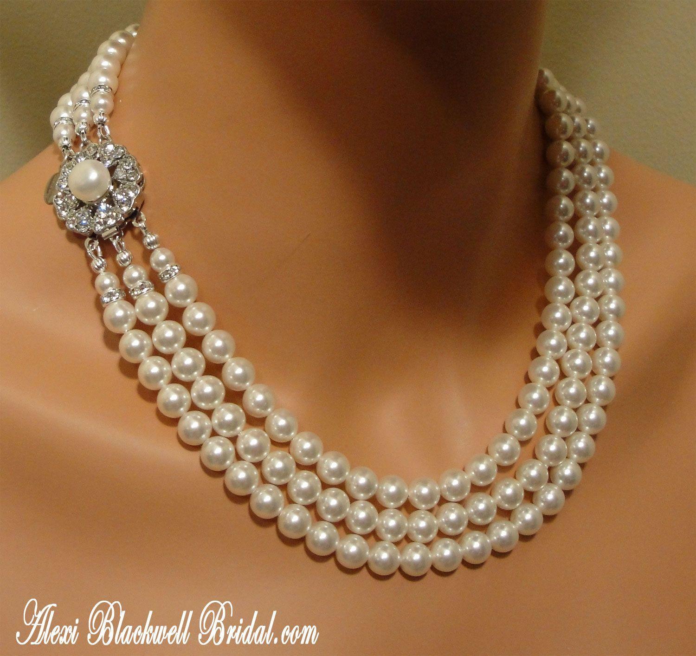 Complete Bridal Set Swarovski Pearl Necklace Bracelet and