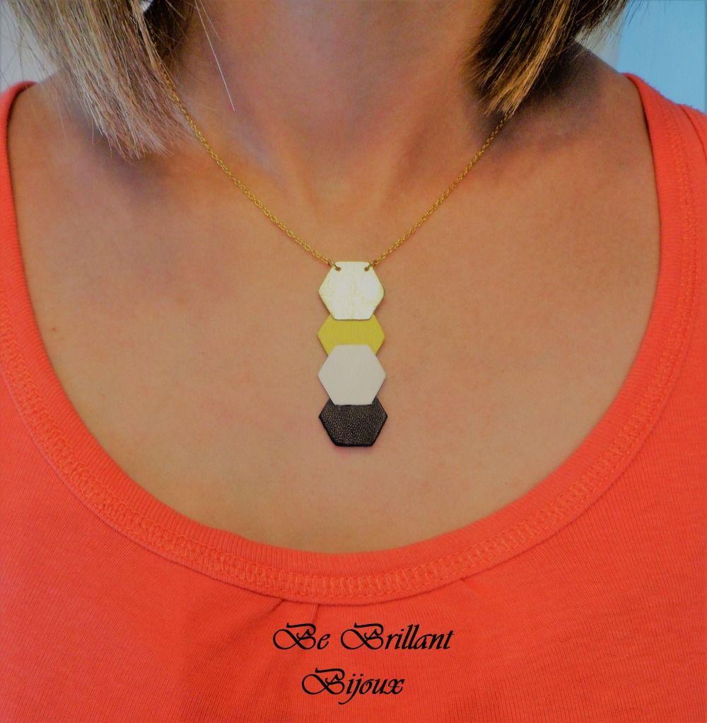 collier femme jaune et noir