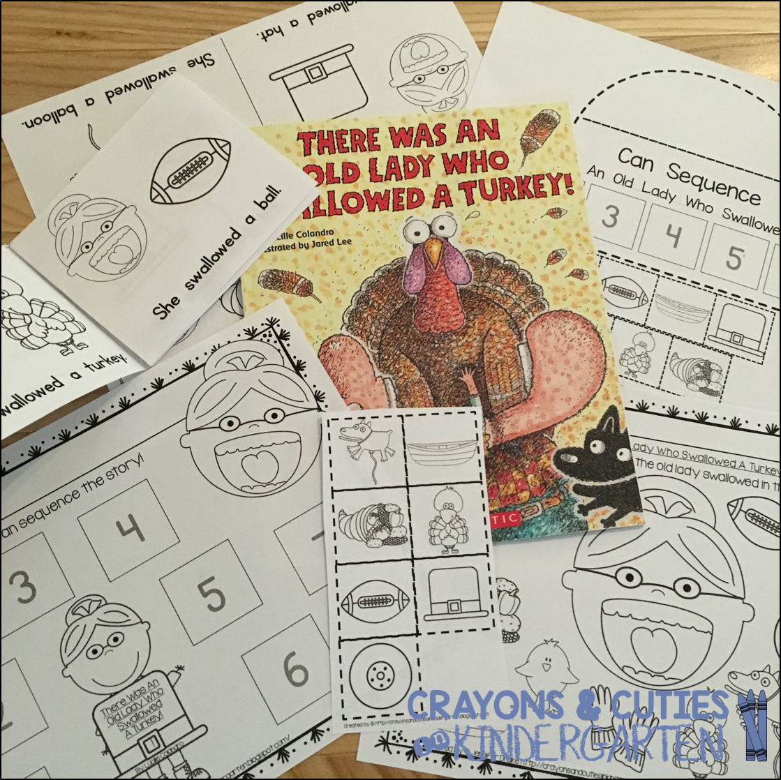 There Was An Old Lady Who Swallowed A Turkey Sequencing Retelling