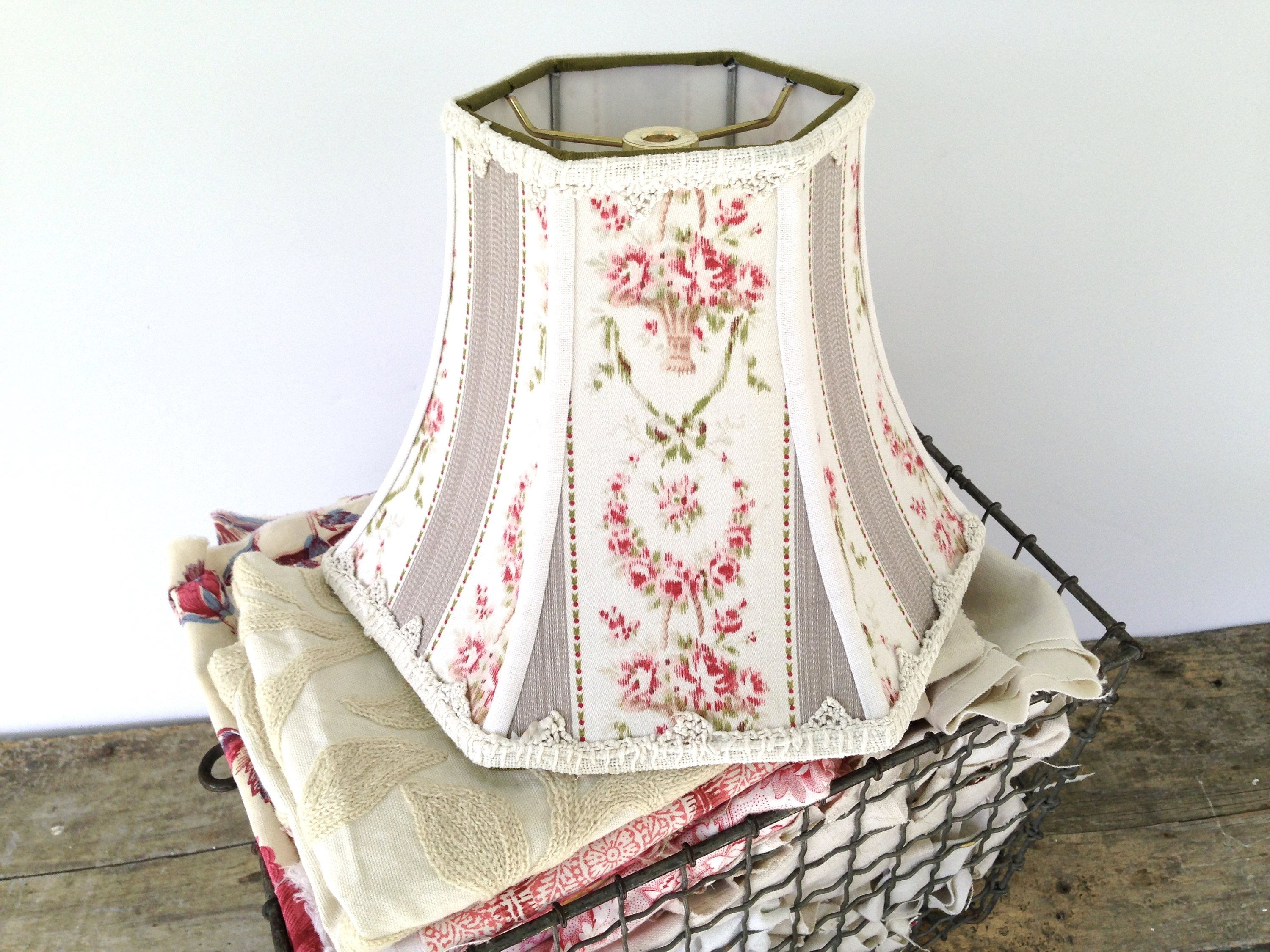 Flower ticking lamp shade pink lampshade hex bell handmade flower basket lamp shade ticking lampshade 5t x 10b x 75high pink cream and gray lampshade trimmed with crochet shabby chic by lampshadelady on aloadofball Image collections