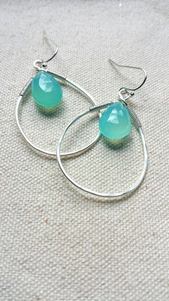 Neon Aqua Blue Chalcedony/ Wire Wrapped Hoop Earrings | Blue ...