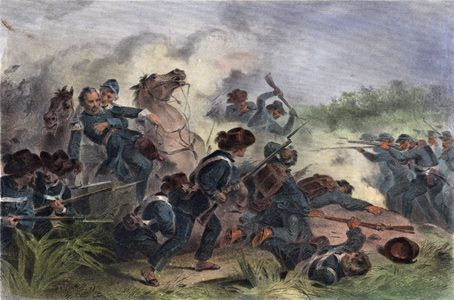 Battle at Wilson's Creek, MO. Death of General Lyon. Hand-colored steel engraving by F. O. C. Darley, 1862. Missouri History Museum. http://www.civilwarmo.org/timeline/1861#