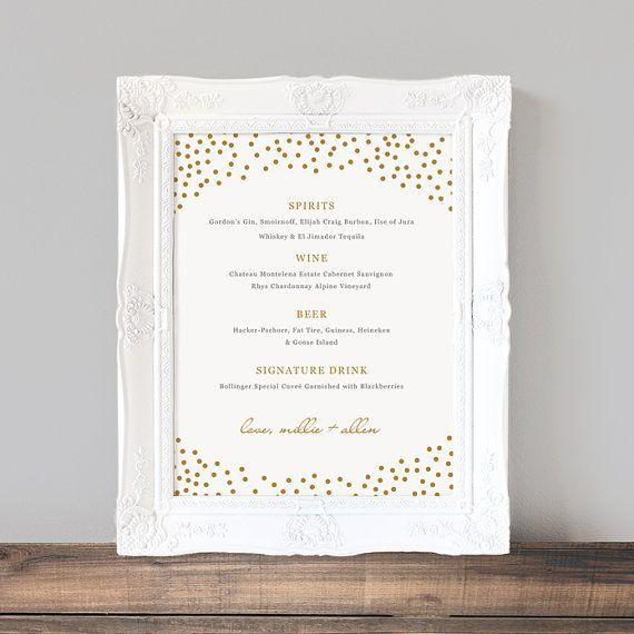 Printable Wedding Bar Menu Template Gold Dots Wedding Bar wedding - bar menu template