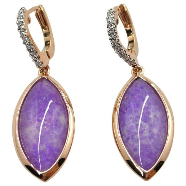 Preowned Jona Sugilite & Quartz Rose Gold Drop Earrings (9.655 RON) ❤ liked on Polyvore featuring jewelry, earrings, drop earrings, red, 18k rose gold jewelry, 18 karat gold earrings, rose gold jewelry and 18k earrings