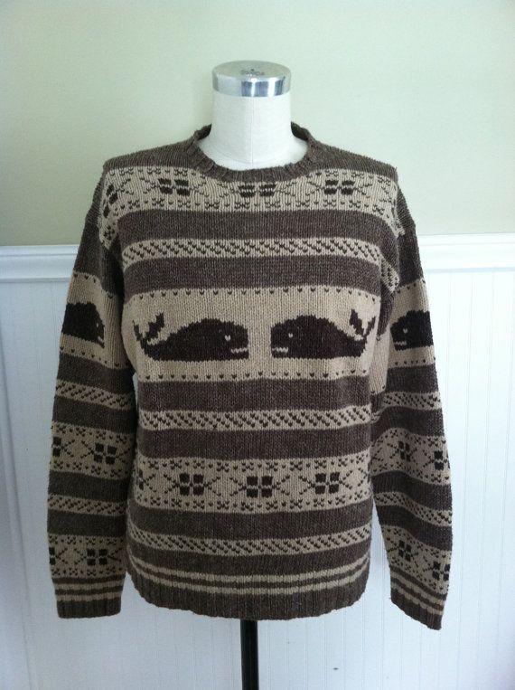 Ralph Lauren Whale Sweater Nautical Handknit Linen Silk Wool L