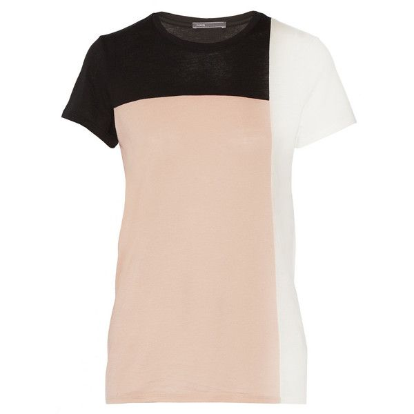 Vince Colorblock Pima cotton-blend T-shirt ($55) ❤ liked on Polyvore featuring tops, t-shirts, neutral, pink t shirt, vince tops, relaxed tee, color-block tee and relaxed fit t shirt