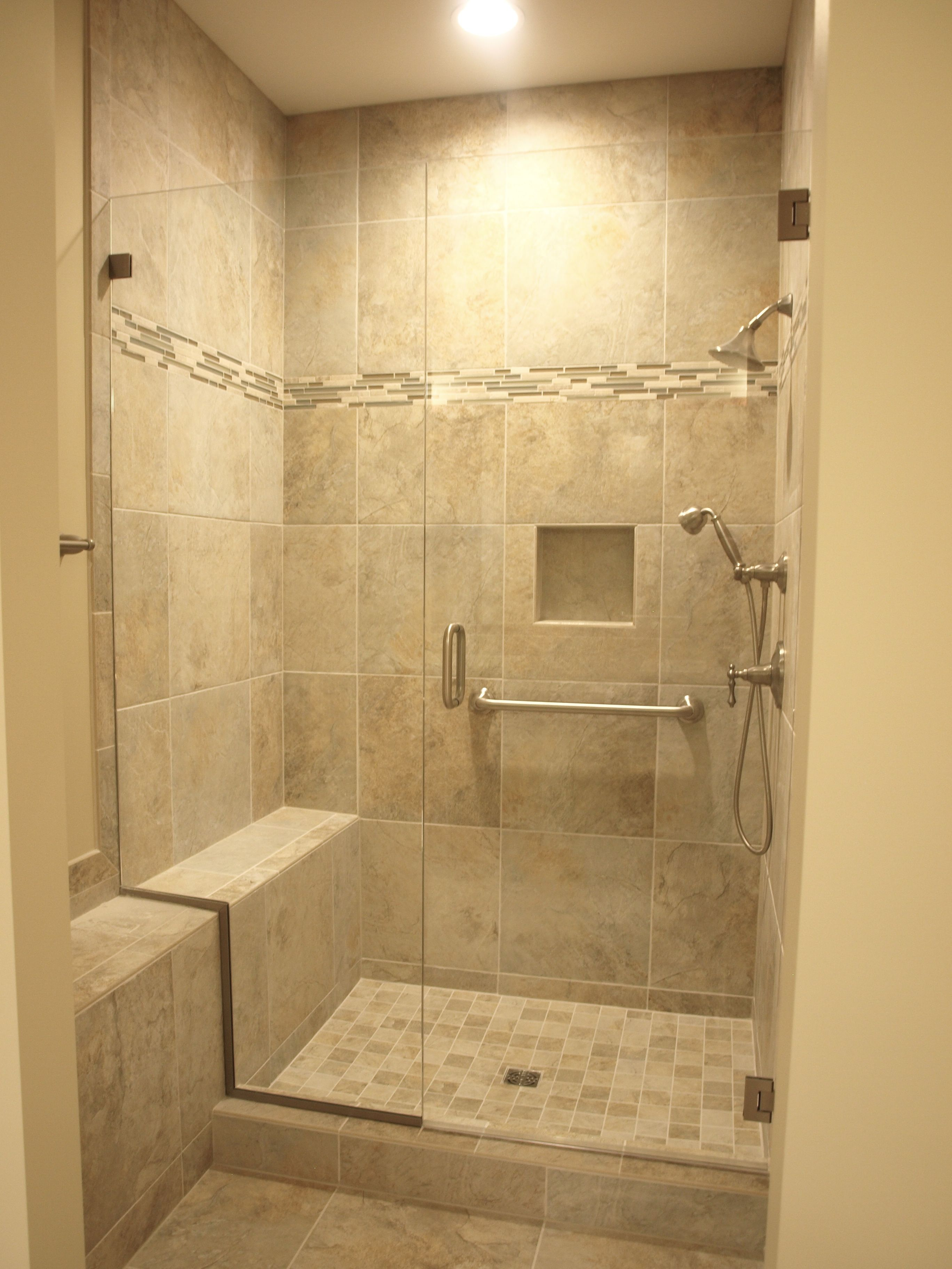 Ceramic Tile Shower Surround With Built In Bench Niche And