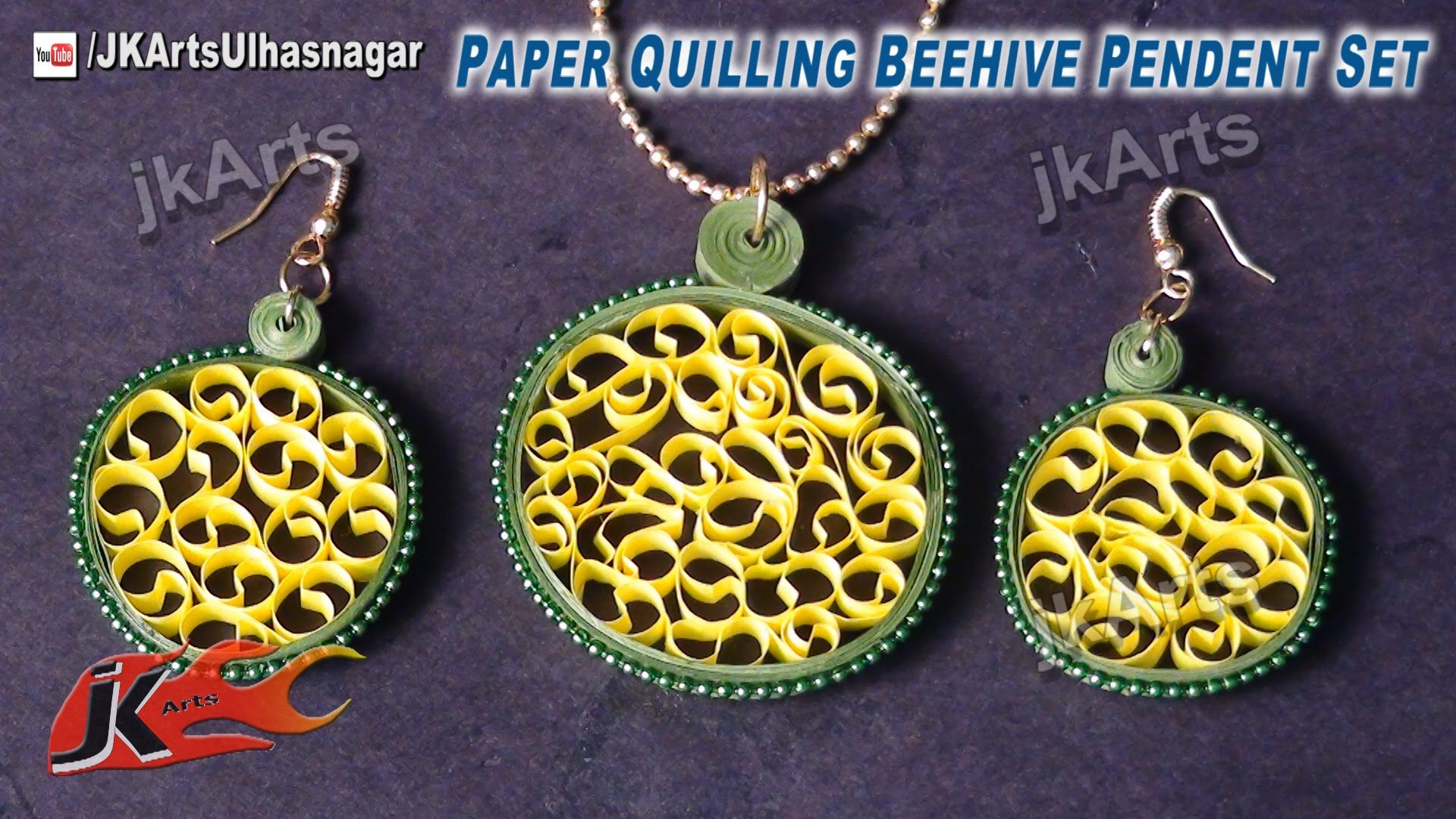 diy beehive paper quilling jewelry earring pendent set | how to