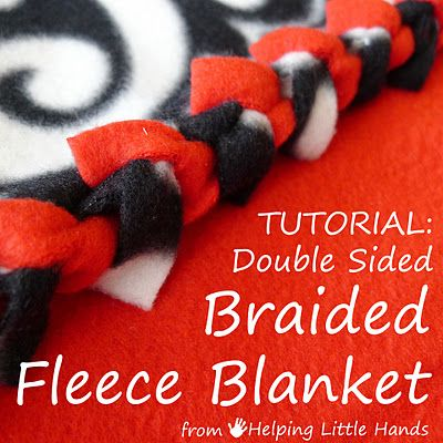 """Helping Little Hands: Double Layer No-Sew """"Braided"""" Fleece Blankets Tutorial"""