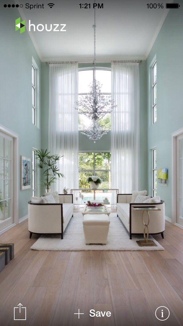 Dramatic Windows Two Story Sheer Drapes Grand Living Space Living Room Decor Living Room