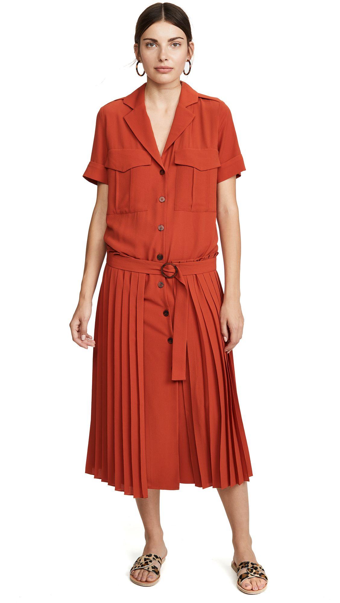 Victoria Victoria Beckham Pleat Detail Dress Shopbop Pleated Midi Skirt Dress Details Dresses [ 2000 x 1128 Pixel ]