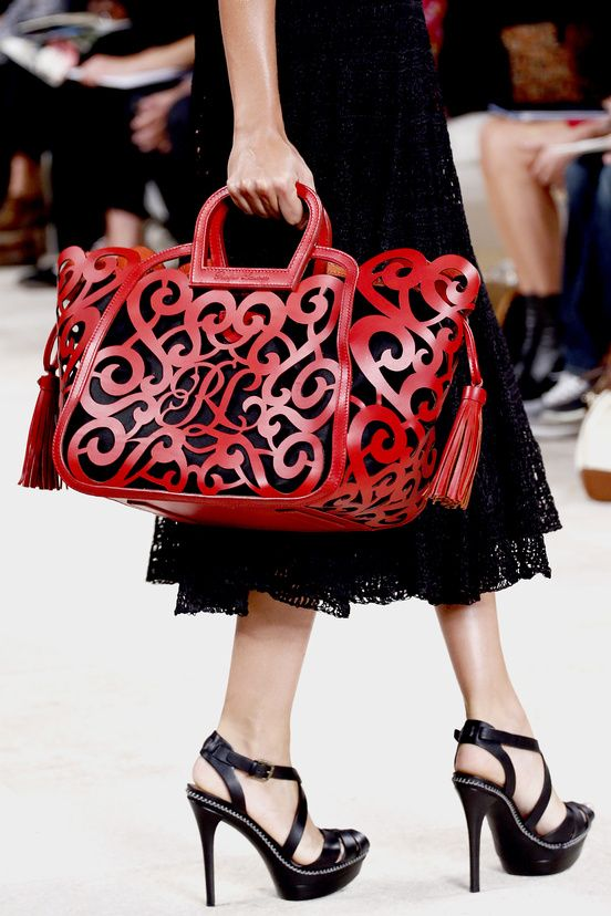 0a533a4ac897 Red leather cutout lace detail... Ralph Lauren 2013