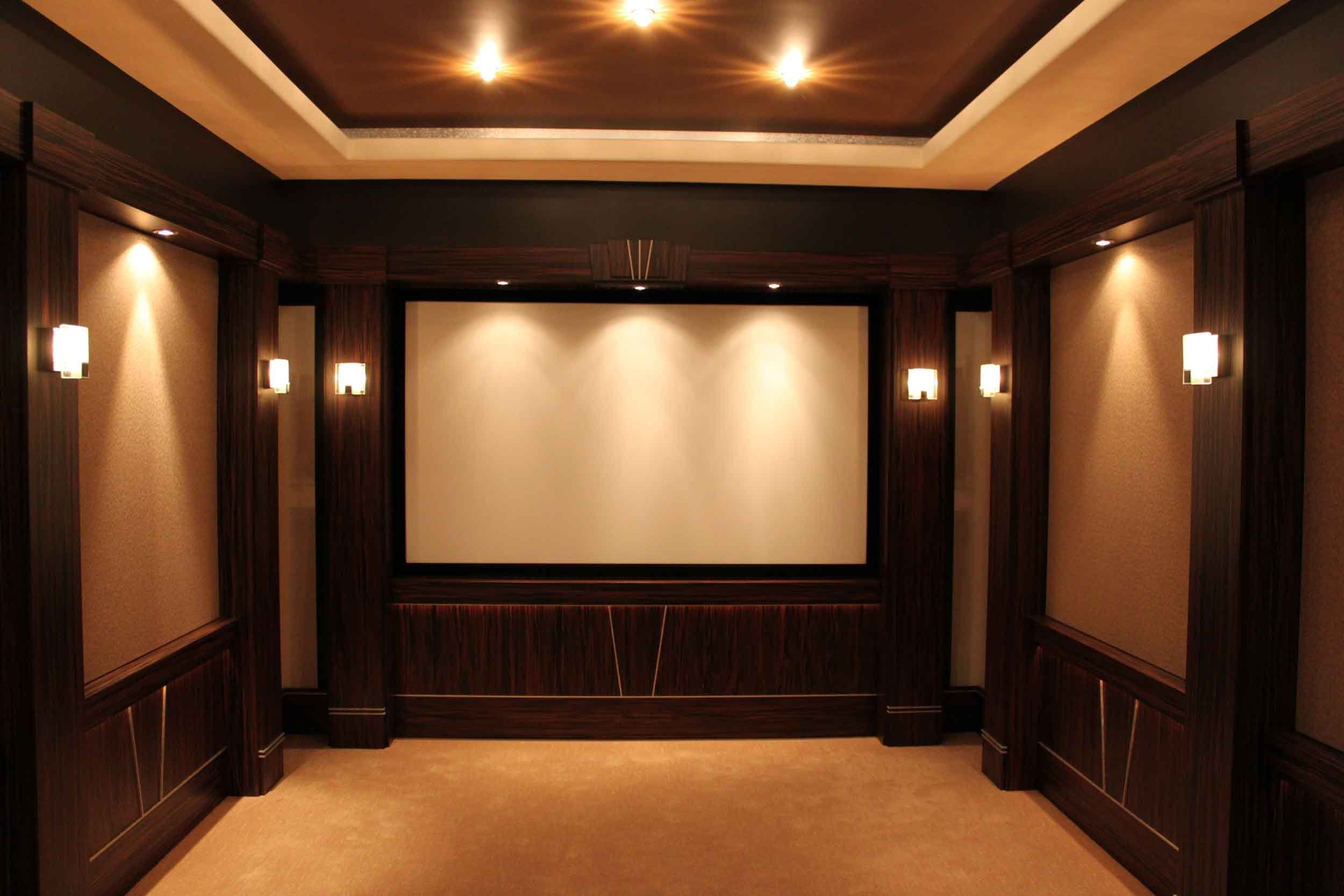 Interior Small Home Theater Room Ideas Big Screen On The Beige Wall Long Table Bar Movie Small Home Theater Room Ideas Big Screen On The Beige Wall Long