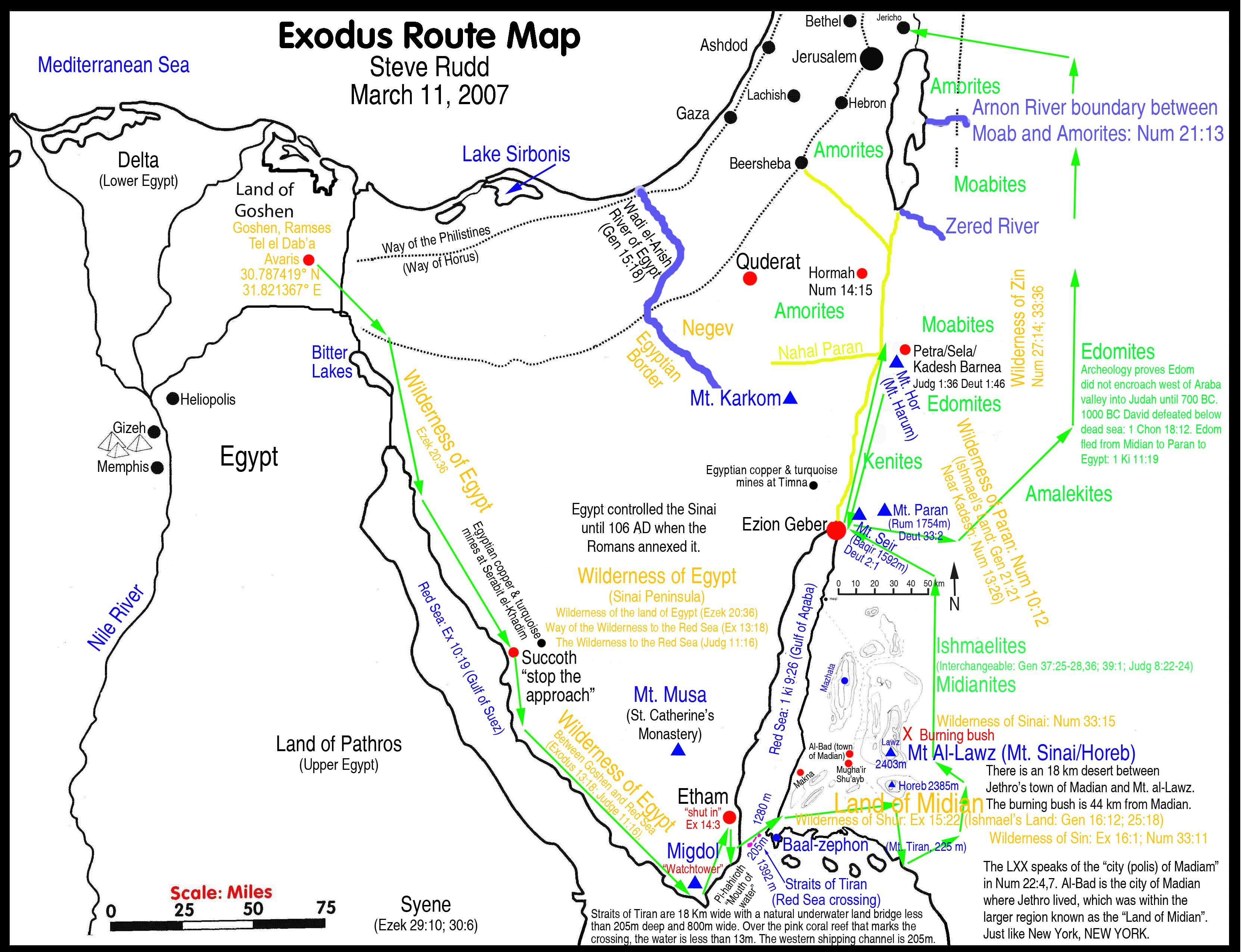 Exodus Route Map Mystery of History Volume 1 Lesson 19 MOHI19