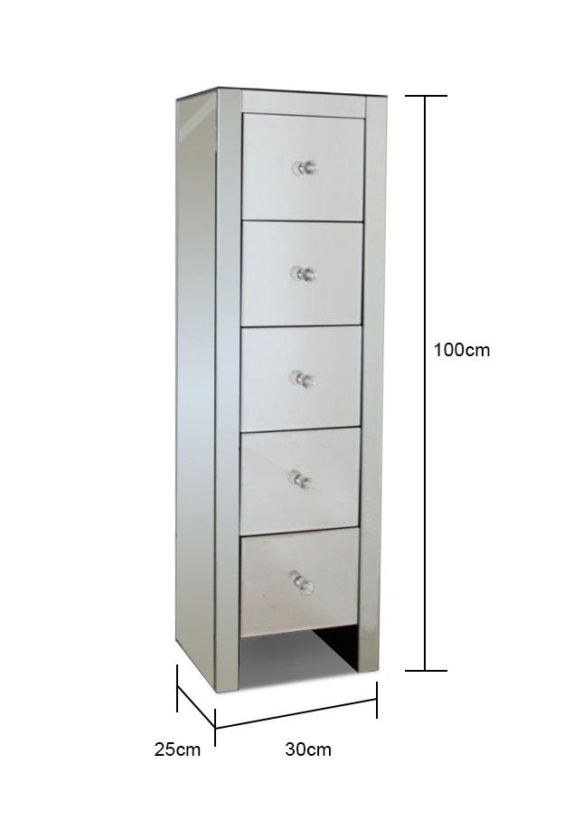 Ultra Thin Mirrored Tallboy Chest Of Drawers