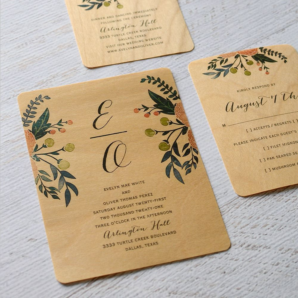 Floral Fancy Real Wood Invitation | Invitations By Dawn | Invitaciones de  boda, Boda, Invitaciones