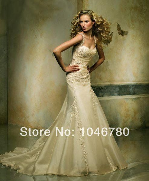 Hot Selling  Sweetheart Tank Off The Shoulder Appliques Sequined Back Zipper  Floor-Length Long Wedding Dress $145.00